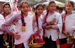 Girls from Newar community act as per thier  cultural rituals in Kathmandu. Nepal is best known for its variety of cultures and traditions. Photo: File photo