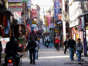 Hoarding boards of different Travel Tour Operators being hanged at the main way to Thamel, the most visited tourist destinations in Kathmandu. Photo: File photo