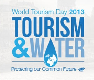 "Logo of World Tourism Day 2013 with slogan ""Tourism and Water: Protecting our Common Future"". Photo:unmultimedia.org"