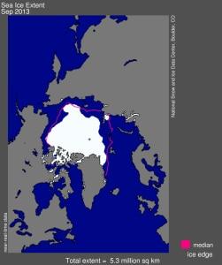 Estensione dei ghiacci artici, settembre 2013 (photo nsidc.org)