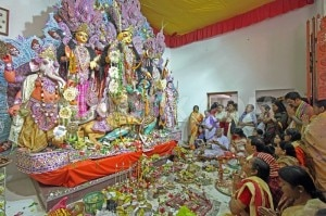 Devotees offering 'Mahaastami' Puja to Goddess Durga on the occasion of Basanti Puja festival at Bolpur in Birbhum district of West Bengal, file photo.