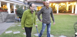 Kopp walks with the help of stick. Photo: AFP