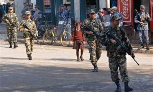 Security personnel patrolling one of the streets in the Capital Kathmandu during the first CA polls held in 2008. File Photo.