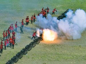 Army personal blasting the cannons on the occasion of Phulpati in Tudikhel, the open theater, on the seventh day of Dashain.
