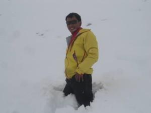 La neve attorno al Laboratorio Piramide (photo Pema Sherpa)