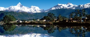 A beautiful view of mountains and their reflections in the Lake in Pokhara, a famous tourist destination in the country. Photo: File photo