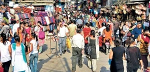 Shoppers busy in Dashain shopping at the Ason, the main marketplace in Kathmandu.