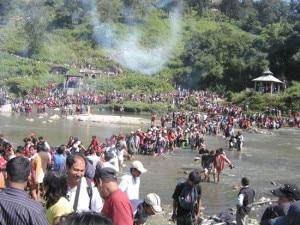 A serpentine queue of participants at the Dipankha Yatra. Photo: Facebook