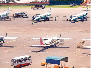 Aircrafts of different domestic airline companies of Nepal at the Tribhuvan International Airport. Photo: File photo