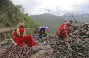 People working at the  cyclone affected zone in Uttarakhanda state of India. Photo agency.
