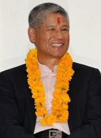 Shesh Ghale, a newly elected NRNA Chairperson during the NRN assembly in Kathmandu last week. Photo: File photo