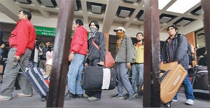 Nepali youths leaving country for foreign jobs. Photo: File photo