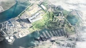 Realizzazione tridimensionale dell'inceneritore di Copenhagen. Il tetto sarà utilizzato come mini comprensorio sciistico con 3 piste. (Photo courtesy of Big/www.big.dk)