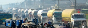 Fuel tankers ferrying petroleum products heading to the Capital during 33-party alliance's block on motorised transportation on Tuesday, November 12, 2013. Security forces are escorting the long and short-route vehicles across the country. Photo: Courtesy to THT online/Ram Sarraf