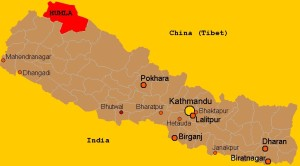 Humla district location in Nepal country map. Photo: File photo
