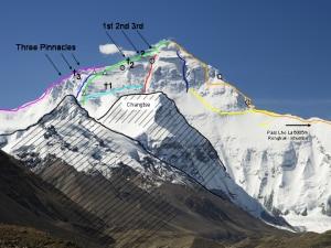 Il versante nord dell'Everest. Il punto segnato dalla croce con accanto il numero 1 è il luogo in cui è stato ritrovato il corpo di George Mallory (Photo Luca Galuzzi/Kassander der Minoer courtesy of Wikimedia Commons)
