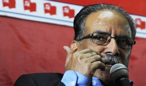 Maoist chairman Pushpa Kamal Dahal during a press conference organized at his party headquarters in Kathmandu to announce overall boycott of the constitution writing process on Thursday, Nov. 21. The party has secured a huge loss in the recently held CA elections. Photo: NMF