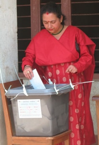 In this file photo, a woman casting her vote in 2008 CA elections. Photo:www.nepalivoices.com.