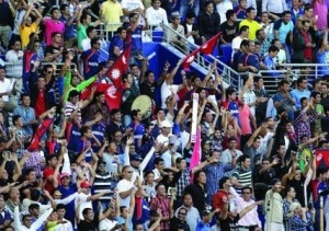 Nepali Cricket fans cheering up their team during the match between Nepal and Hong Kong at the Sheikh Zayed Stadium in Abu Dhabi on Wednesday. Photo: cricketingnepal.com