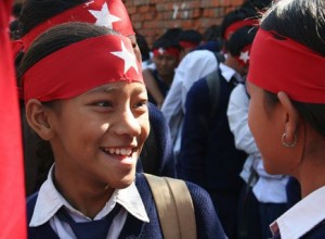Students taking part at the victory rally of United Maoist Party following CA polls in 2008. File photo