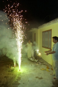 In this file photo people are seen burning fireworks while celebrating Tihar, the festival of lights.