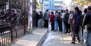 Voters line up in queue to vote for the CA on Tuesday in Kathmandu. Photo: NMF