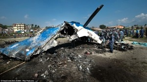 Wreckage of Sita aircraft after it met an accident near TIA while the aircraft collided with a bird in November , 2012. File photo, source dailymail.com