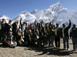 The then Prime Minister Madhav Kumar Nepal and 22 other government ministers held a high-attitude meeting on the Kalapattar plateau on Friday December 4, 2009 to highlight the affects of global warming. Scientists say the Himalayan glaciers are melting, threatening mountain communities. Photo: File photo/NMF