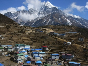 A view of Namche Bazar located in Khumbu region