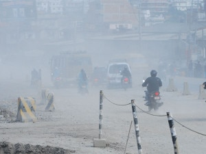 Vehicles plying on the streets that are under construction in Kathmandu. Photo: NMF