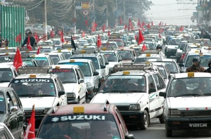 Taxis takeout rally on the street after the government made strict rules to curb meter tampers in Kathmandu few months ago. Photo: File photo/NMF