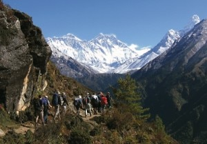 Tourists trekking up the Khumbu Valley with Everest, Nuptse and Ama Dablam ahead. Photo: File photo