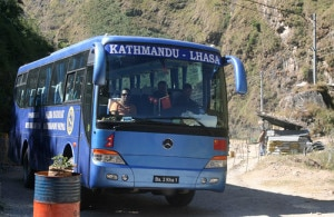 A passenger bus being used in direct bus service between Kathmandu and Lhasa, China. Photo: File photo