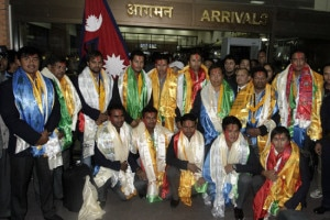 The national cricket team upon their arrival at the Tribhuvan International Airport in Kathmandu on Sunday.