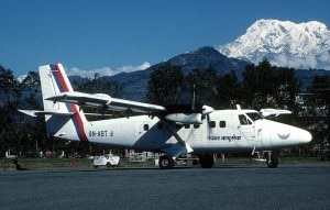 A Nepal Airlines aircraft at the run way of Pokhara Airport with a beautiful mountain views in the backdrop. Photo: File photo