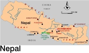 Map of Nepal with Pokhara and Kathmandu. Photo: File photo