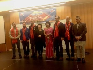 Felicitated climbers with the NTB officials pose for a photo during the function. Photo: Courtesy to NTB