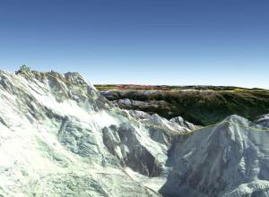 Kangchenjunga e di fronte il Talung (Immagine Google Earth)