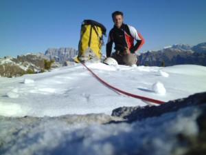 Marco Anghileri in cima allo Spiz di Lagunaz (Photo Facebook Marco Anghileri)