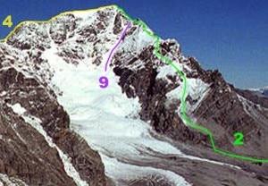 La via numero 9, indicata in violetto, è la Minnigerode, sul versante meridionale dell'Ortles (Photo courtesy of Wikimedia Commons)