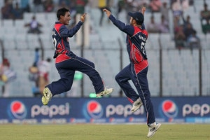 Nepali cricketers celebrate after winning the third Group A match of World T20 against Afghanistan, at the Zahur Ahmed Chowdhury Stadium in Bangladesh on Thursday' March 20' 2014. Photo Courtesy: ICC