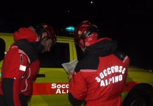 Intervento in notturna del Soccorso Alpino (Photo courtesy of Cnsas Lombardia)