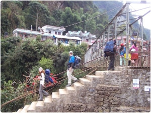 Foreign tourist on their way to Birethanti along the Annapurna Trekking route. File photo. Photo source: www.peakpromotionnepal.com