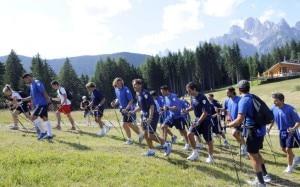 I giocatori della Lazio durante il ritiro estivo ad Auronzo di Cadore (Photo courtesy of auronzomisurina.it)