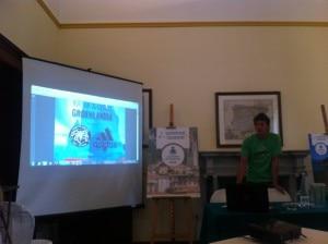 Matteo Della Bordella durante la presentazione a Varenna della spedizione in Groenlandia