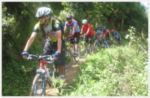 Sports enthusiastic enjoying cycling in Shivapuri National Park.