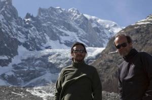 Il regista Daniele Vicari e il produttore Francesco Virga sul Monte BIanco