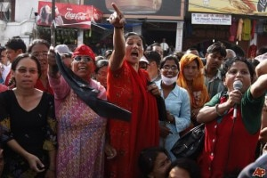 Nepali women protesting against marital rape. File image source:www.womensviewsonnews.org