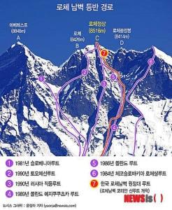 Le vie sulla parete sud del Lhotse - in rosso la linea pensata dai coreani (Photo pagina facebook Korean Lhotse South Face Expedition)