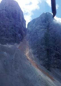 La frana staccatasi ieri sul Monte Pelmo (Photo courtesy of Cnsas Veneto)